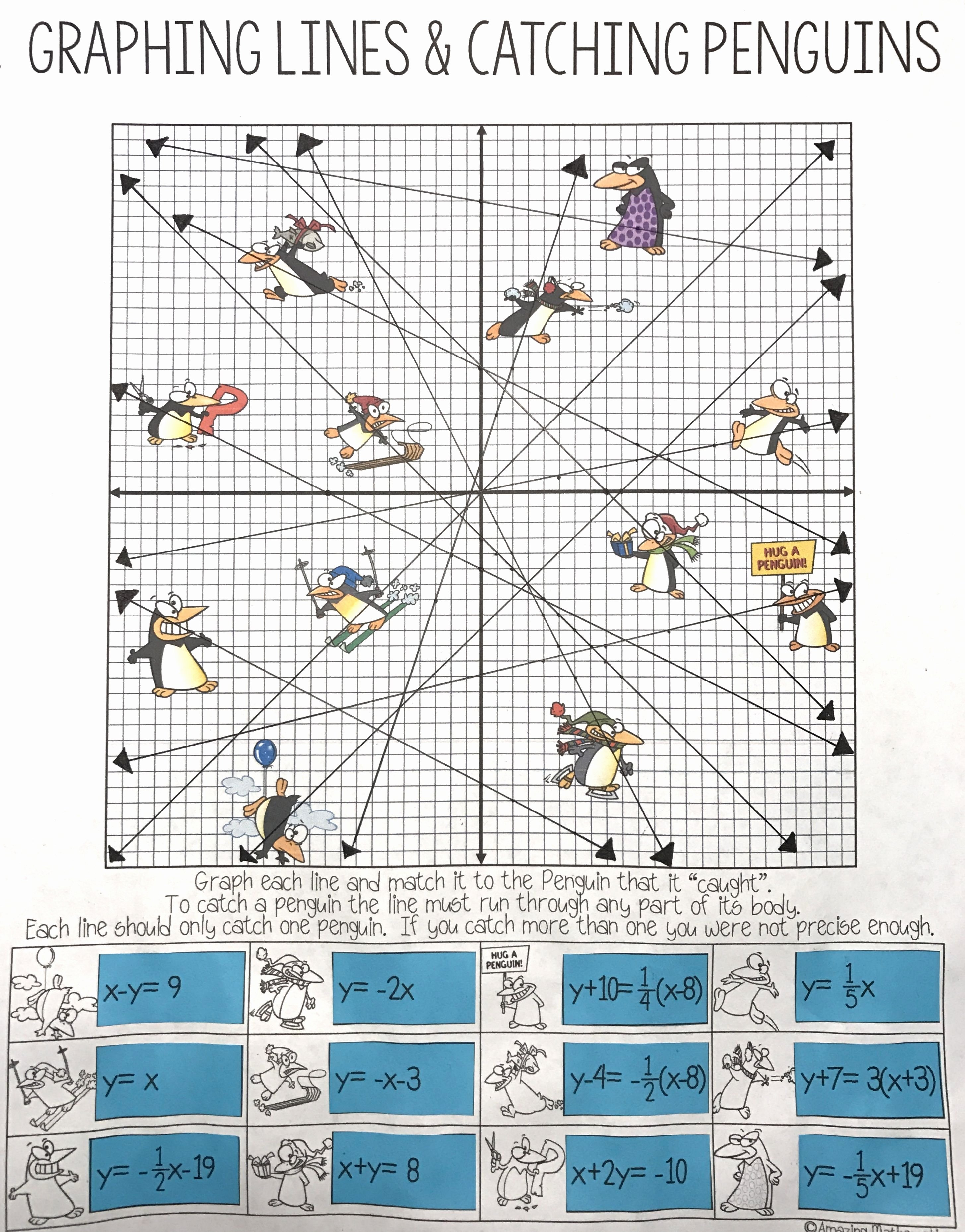 Graphing Linear Equations Worksheet Best Of Graphing Lines & Penguins All 3 forms