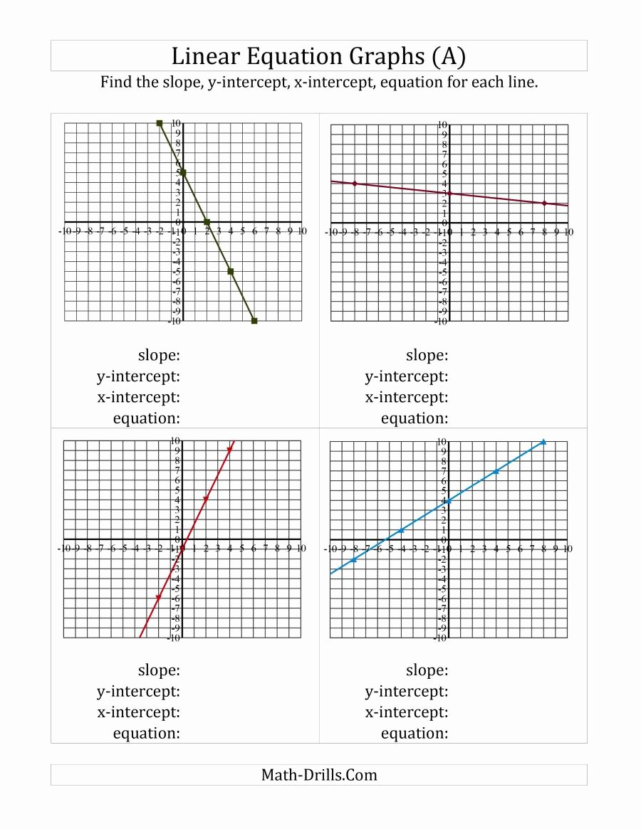 Graphing Linear Equations Worksheet Elegant Finding Slope Intercepts and Equation From A Linear
