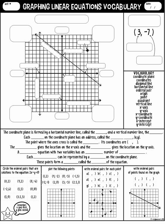 Graphing Linear Equations Worksheet Elegant Graphing Linear Equations Vocabulary Guided Notes