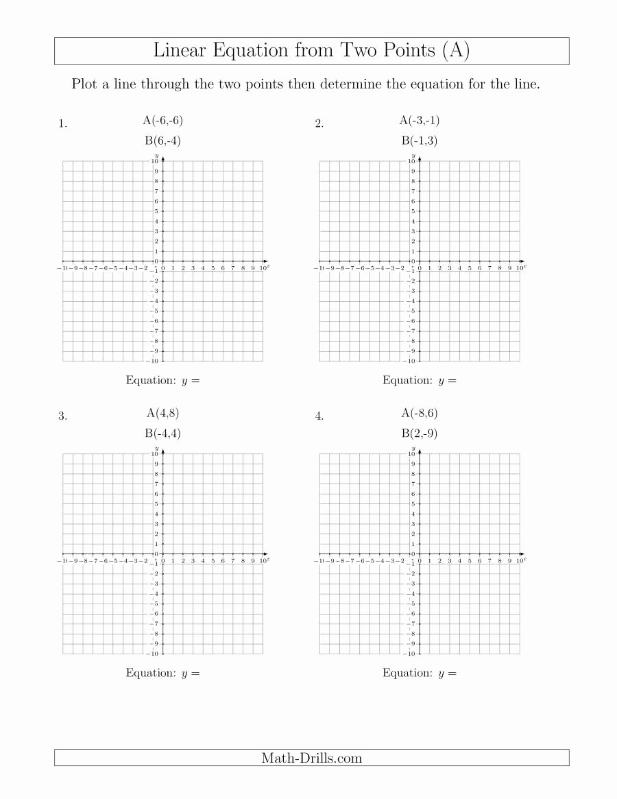 Graphing Linear Equations Worksheet Inspirational Determine A Linear Equation by Graphing Two Points A