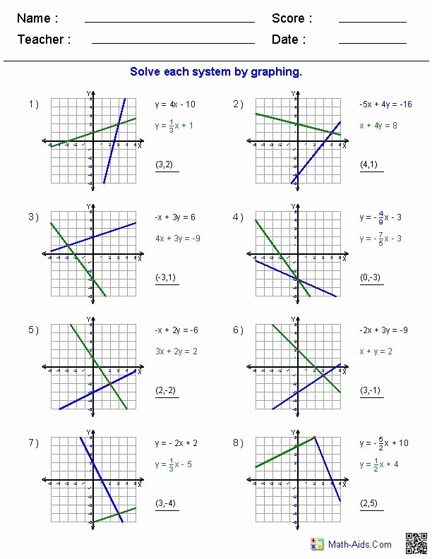 Graphing Linear Equations Worksheet Pdf Lovely solving Two Variable Systems Of Equations by Graphing