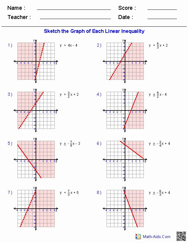 Graphing Linear Functions Worksheet Answers Elegant Graphing Linear Inequalities Worksheet