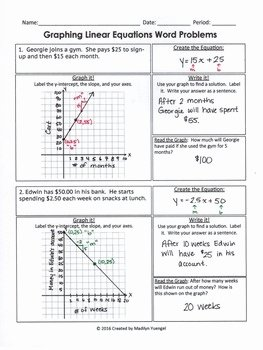 Graphing Linear Functions Worksheet Answers Inspirational Graphing Linear Equations Word Problems by Madilyn Yuengel