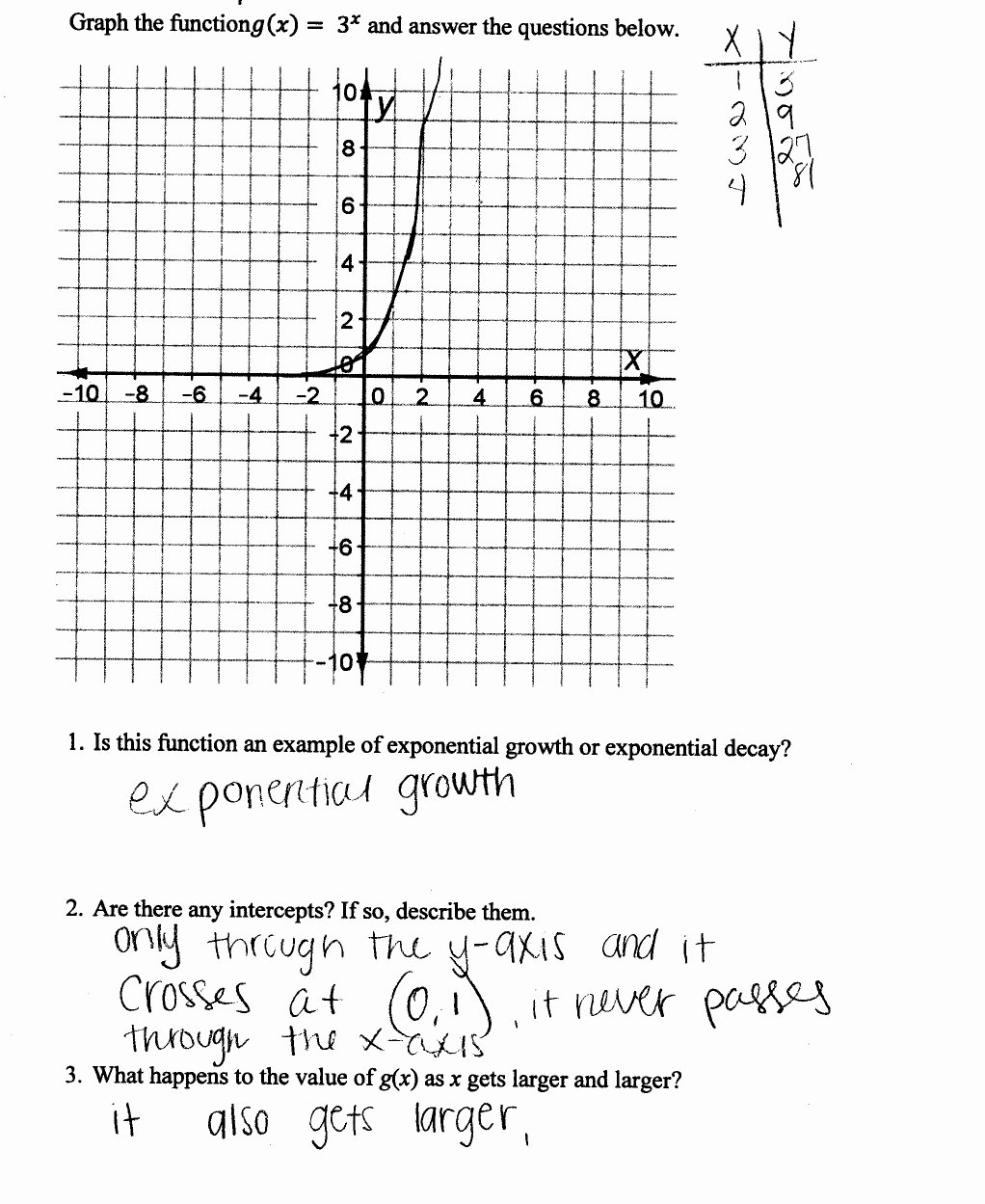 Graphing Linear Functions Worksheet Answers New Graphing An Exponential Function
