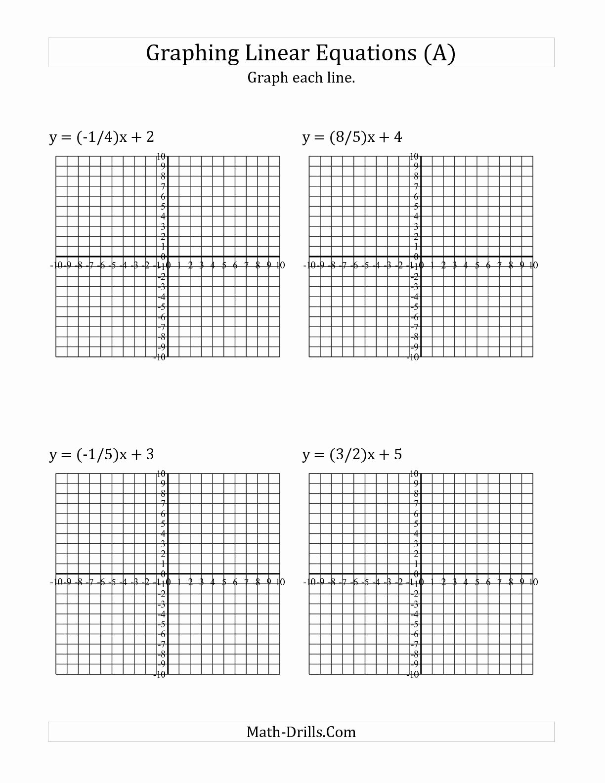 Graphing Linear Functions Worksheet Answers Unique the Graph A Linear Equation In Slope Intercept form A