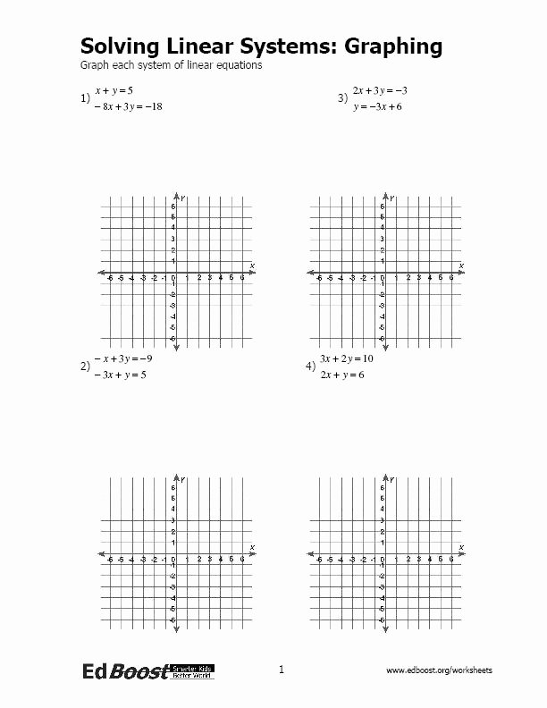 Graphing Linear Functions Worksheet Awesome Graphing Systems Of Linear Equations