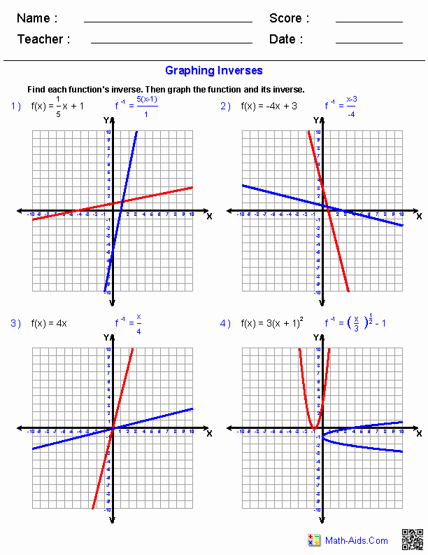 Graphing Linear Functions Worksheet Inspirational Algebra 2 Worksheets