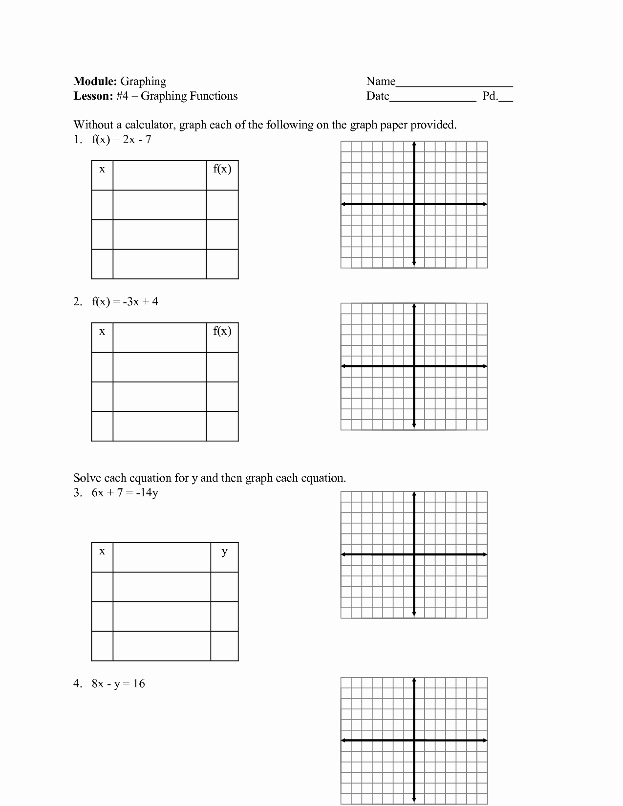 Graphing Linear Functions Worksheet Pdf Elegant 14 Best Of Graphing Linear Equations Worksheets Pdf