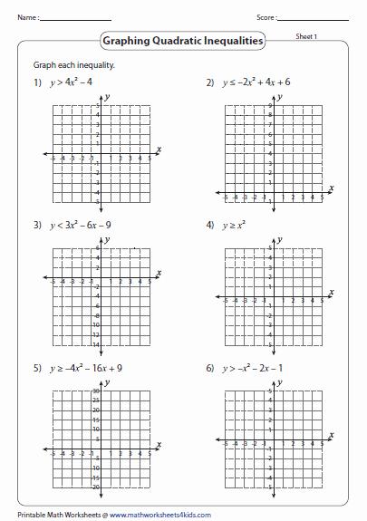 Graphing Linear Functions Worksheet Pdf Elegant Quadratic Inequalities Worksheets