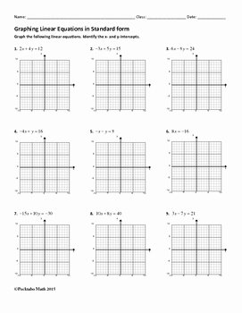 Graphing Linear Functions Worksheet Pdf Fresh Graphing Linear Equations In Standard form Algebra