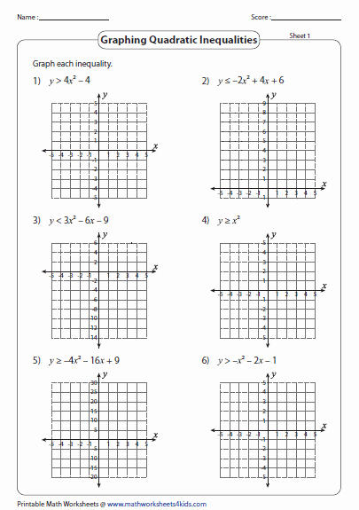 Graphing Linear Inequalities Worksheet Awesome Quadratic Inequalities Worksheets