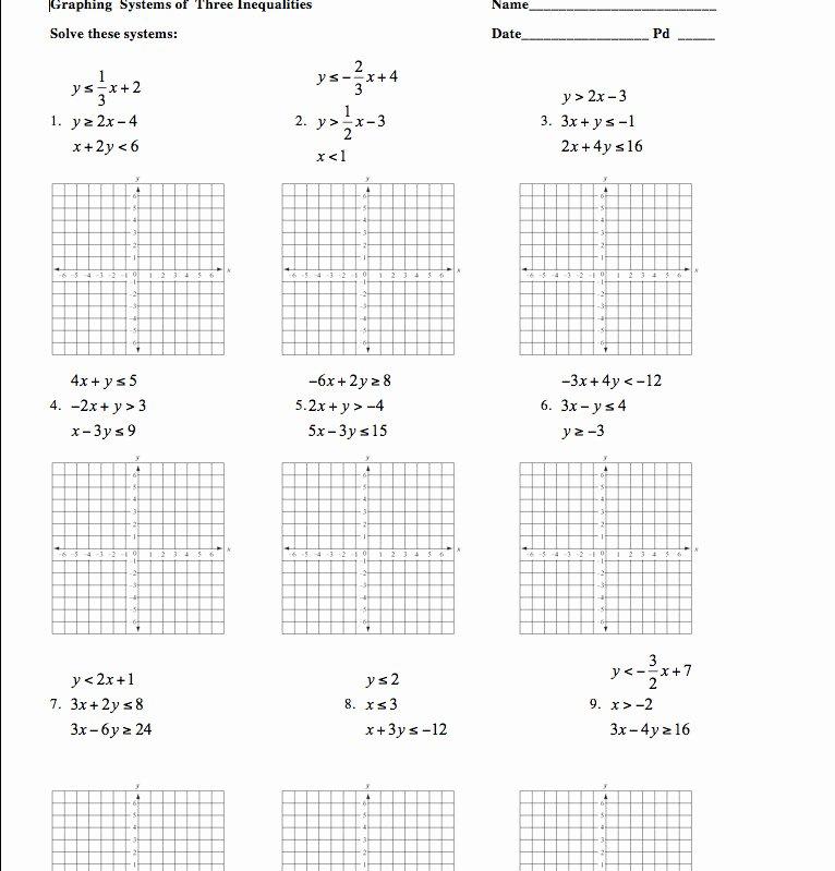 Graphing Linear Inequalities Worksheet Elegant Graphing Linear Inequalities Worksheet