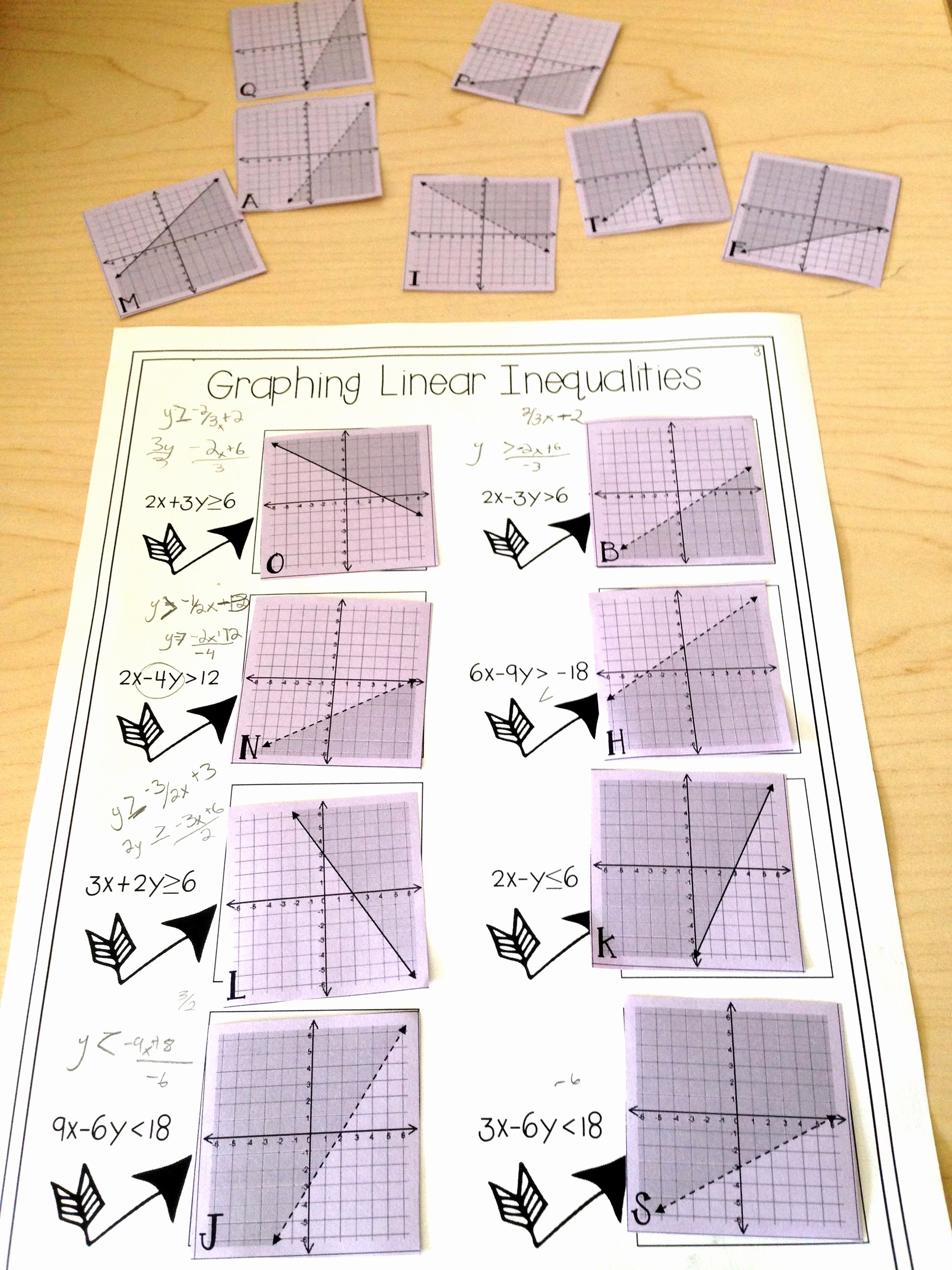 Graphing Linear Inequalities Worksheet Luxury Graphing Linear Inequalities Card Match Activity