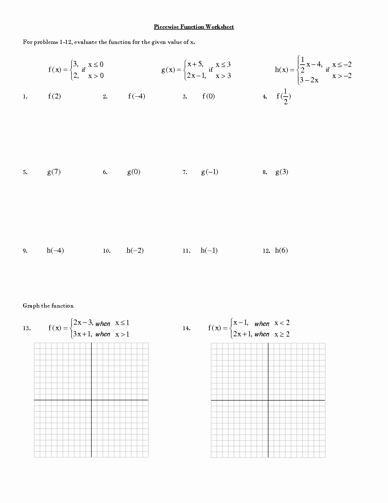 Graphing Piecewise Functions Worksheet Elegant 15 Best Of Evaluating Functions Worksheets Pdf
