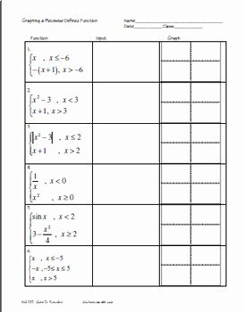 Graphing Piecewise Functions Worksheet Elegant Graphing Piecewise Functions On Ti 83 84 Plus Worksheet
