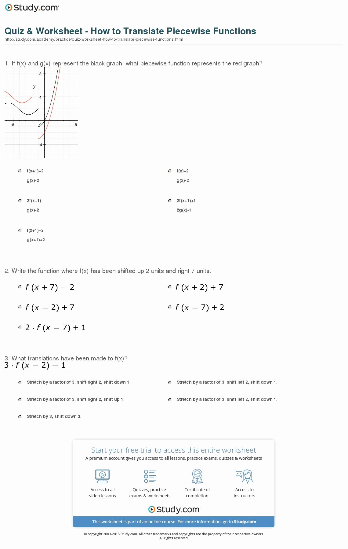 Graphing Piecewise Functions Worksheet New Quiz & Worksheet How to Translate Piecewise Functions