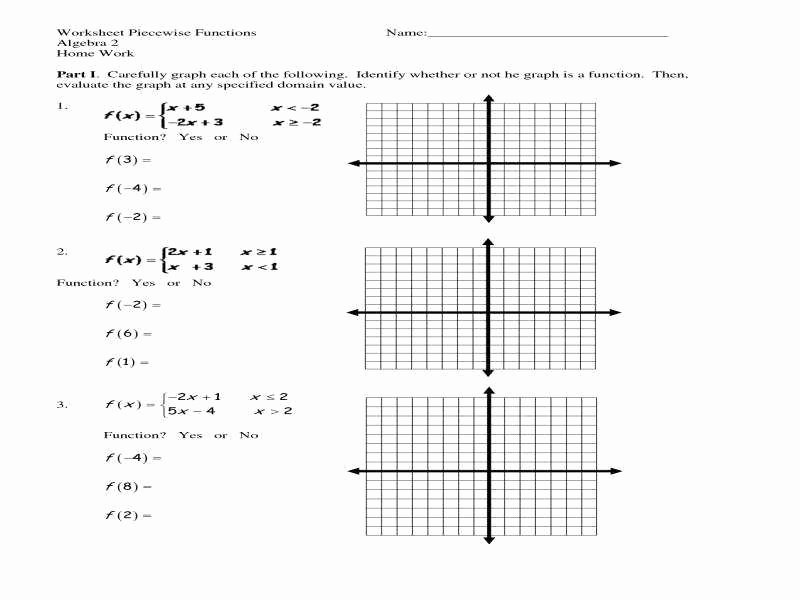 Graphing Piecewise Functions Worksheet Unique Piecewise Function Worksheet
