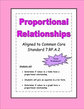Graphing Proportional Relationships Worksheet Beautiful Proportional Relationships Worksheet by Math In Demand