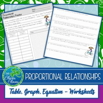 Graphing Proportional Relationships Worksheet Fresh the Clever Clover Teaching Resources