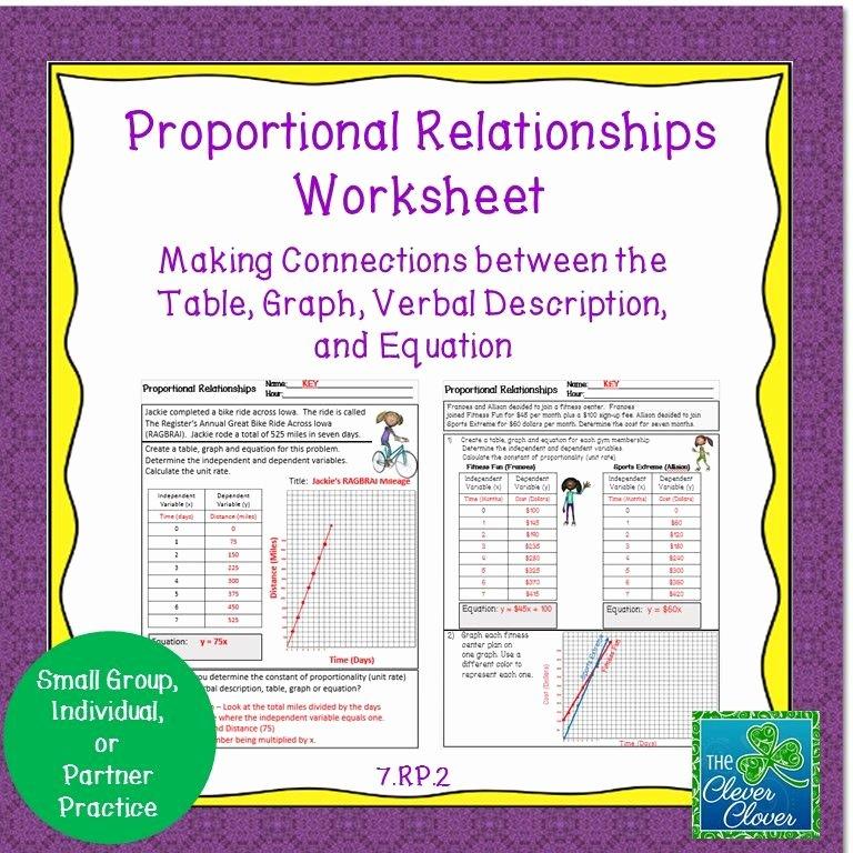 Graphing Proportional Relationships Worksheet Unique Proportional Relationships Worksheet 7 Rp 2