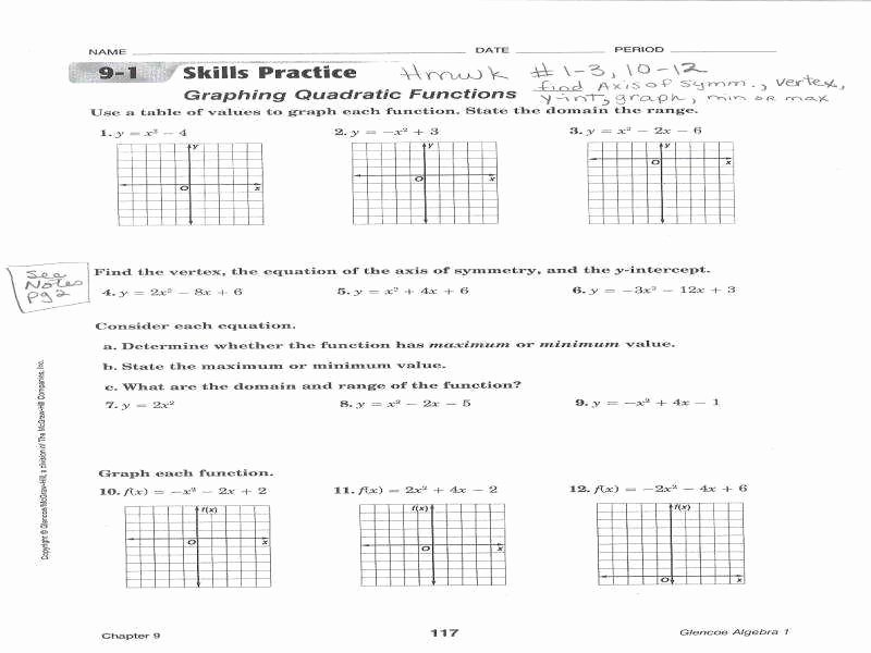 Graphing Quadratic Functions Worksheet Answers Fresh Graphing Quadratic Equations Worksheet