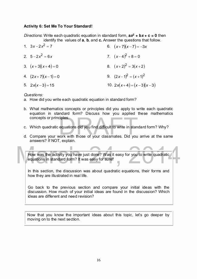 Graphing Quadratic Functions Worksheet Answers Fresh Worksheet Graphing Quadratics From Standard form Answer