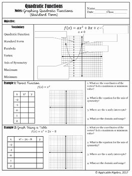 Graphing Quadratic Functions Worksheet Answers Inspirational Graphing Quadratic Functions In Standard form Worksheet
