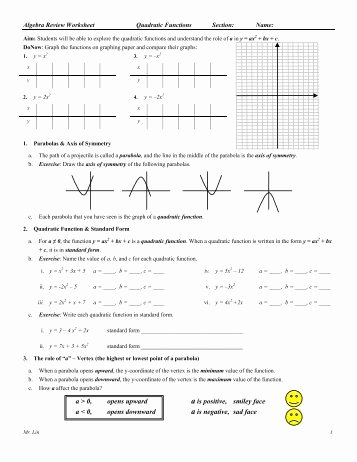 Graphing Quadratics Review Worksheet Awesome Algebra Worksheet 09 Qudratic Functions