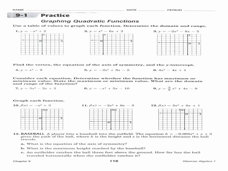 Graphing Quadratics Review Worksheet Best Of Womackmath 3rd Intermediate Algebra Free Printable