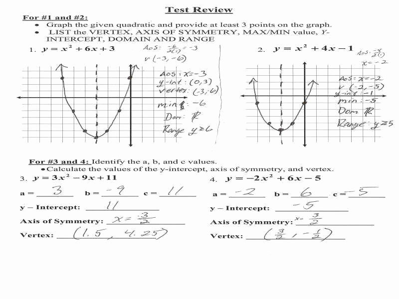 Graphing Quadratics Review Worksheet Fresh Graphing Quadratic Functions Worksheet