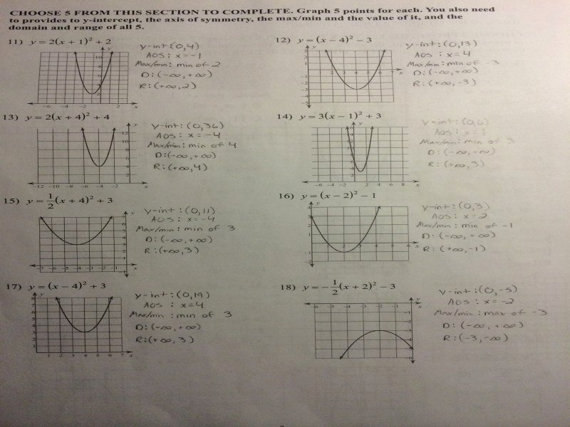 Graphing Quadratics Review Worksheet Fresh Graphing Quadratics Review Worksheet Answers Free