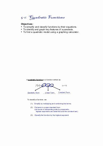 Graphing Quadratics Review Worksheet Lovely Graphing A Parabola From Vertex form Worksheet Answer Key
