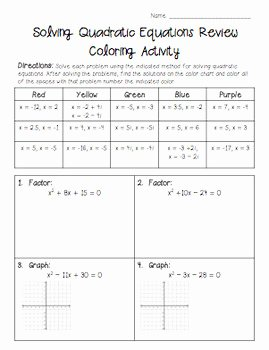 Graphing Quadratics Review Worksheet New solving Quadratic Equations Review Coloring Activity by