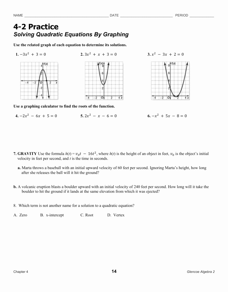 Graphing Quadratics Worksheet Answers Best Of solving Quadratic Equations by Graphing Worksheet Answers