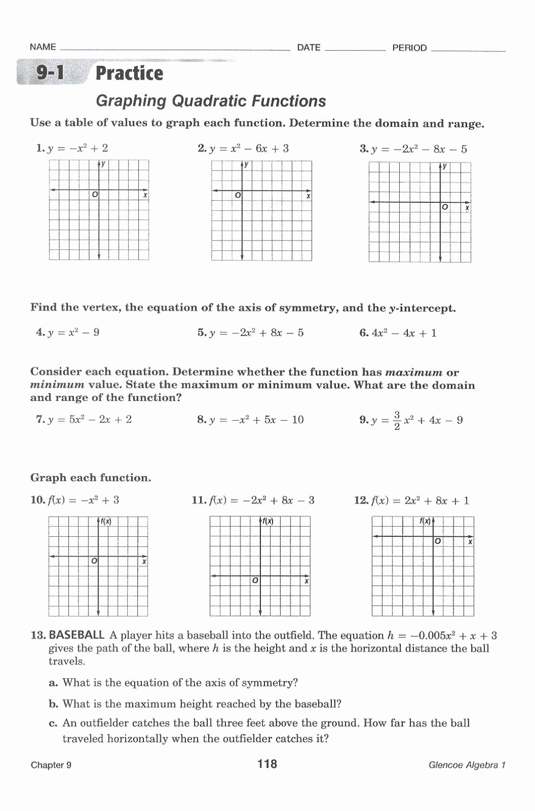 Graphing Quadratics Worksheet Answers Fresh Graphing Quadratic Functions Worksheet Answers the Best
