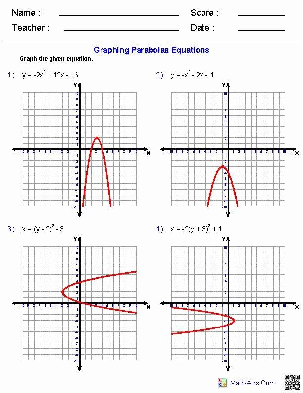 Graphing Quadratics Worksheet Answers Fresh Graphing Quadratic Functions Worksheets