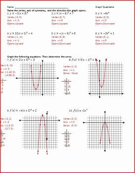 Graphing Quadratics Worksheet Answers Fresh Quadratic Worksheets by Rita Rhinestone