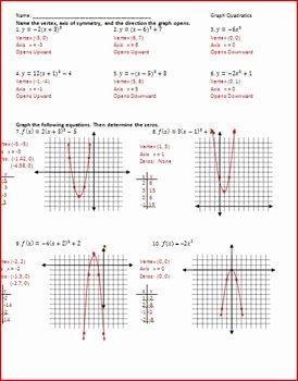 Graphing Quadratics Worksheet Answers Fresh Quadratic Worksheets by Rita Rhinestone