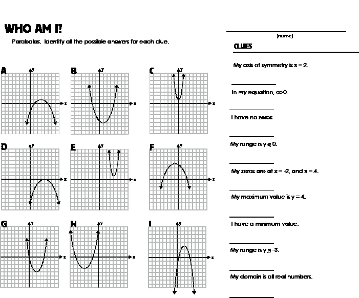 Graphing Quadratics Worksheet Answers New Quadratic