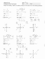 Graphing Rational Functions Worksheet Fresh Worksheet Rational Functions 1 Answers Algebraz Trig