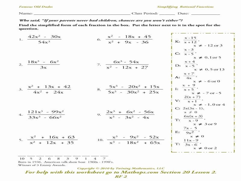 Graphing Rational Functions Worksheet Lovely Rational Functions Worksheet