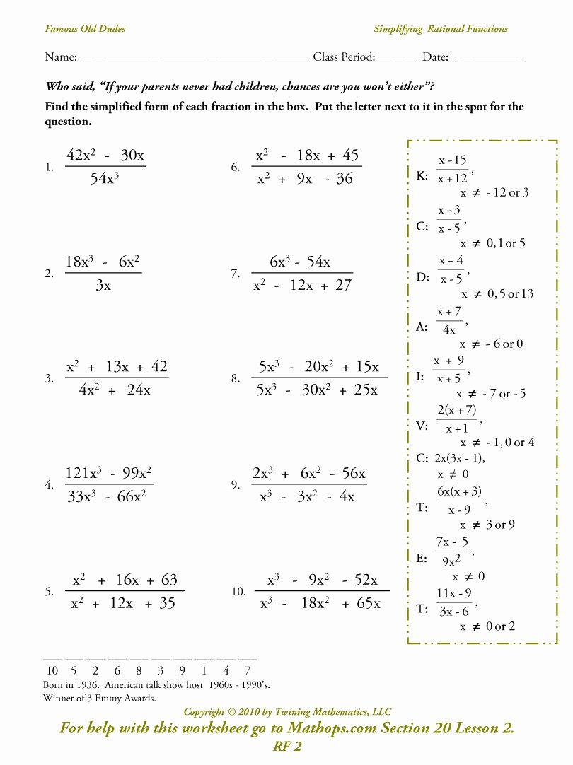 Graphing Rational Functions Worksheet Lovely Rf 2 Simplifying Rational Functions Mathops