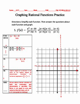 Graphing Rational Functions Worksheet Luxury Graphing Rational Functions Practice by Shayla Wiggins