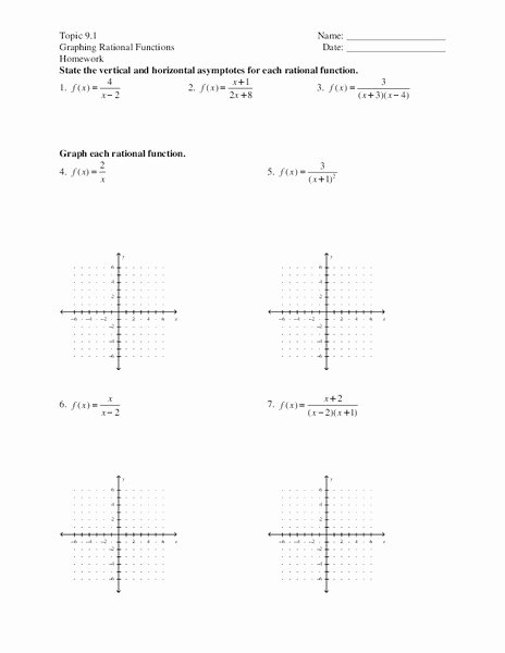 Graphing Rational Functions Worksheet Luxury Graphing Rational Functions Worksheet