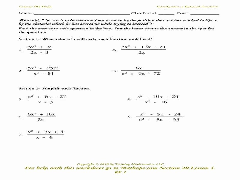 Graphing Rational Functions Worksheet Luxury Rational Functions Worksheet