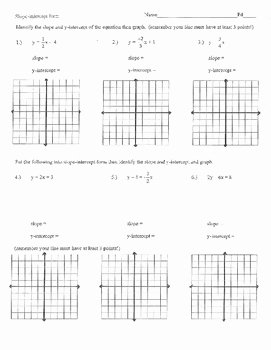 Graphing Slope Intercept form Worksheet Inspirational Slope Intercept form Worksheet Homework Practice Quiz Test