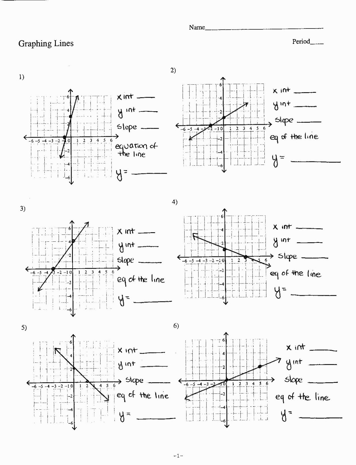 Graphing Slope Intercept form Worksheet Unique Graphing Linear Equations In Slope Intercept form