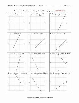 Graphing Slope Intercept form Worksheet Unique Graphing Lines In Slope Intercept form Worksheets by