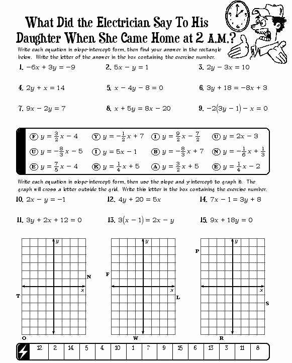 Graphing Slope Intercept form Worksheet Unique Slope Intercept form Worksheets