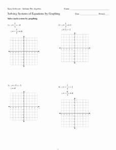 Graphing Systems Of Equations Worksheet Unique solving Systems Of Equations by Graphing Worksheet for 9th